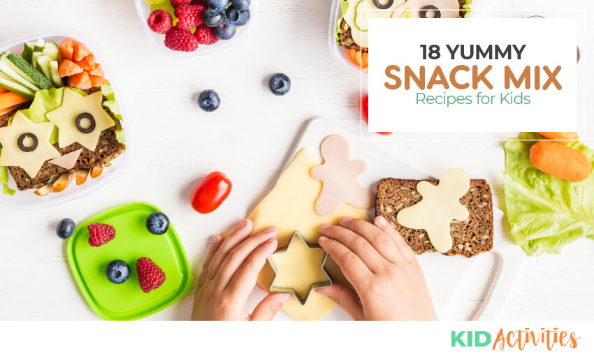 A collection of 18 yummy snack recipes for kids.
