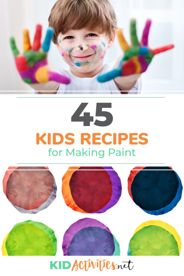 A collection of kids recipes for making paint. These ingredients are likely to be found in your pantry.