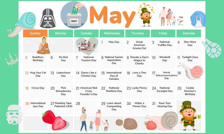 May activity calendar. Great for developing lesson plans or fun activities for the month of May.