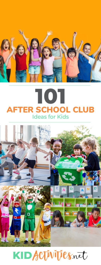 A collection of after school club ideas for kids. These range anywhere from sports, math, geology, and all the in-between. 101 club ideas.