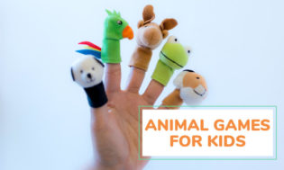 A picture of a hand with animal finger puppets with text reading animal games for kids.