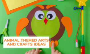 A picture of an owl craft with text that reads animal themed arts and crafts for kids.