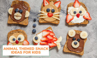 Toast with animal food art on them. A cat, fish, bear, monkey, owl are created on different slices of toast. Text reading animal themed snack ideas for kids.