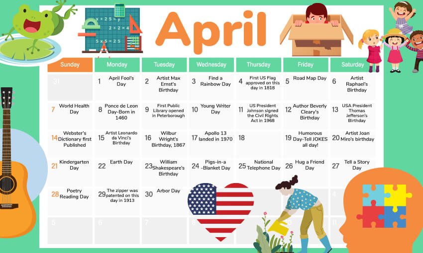 April activity calendar for the classroom. A great way to get <a href=