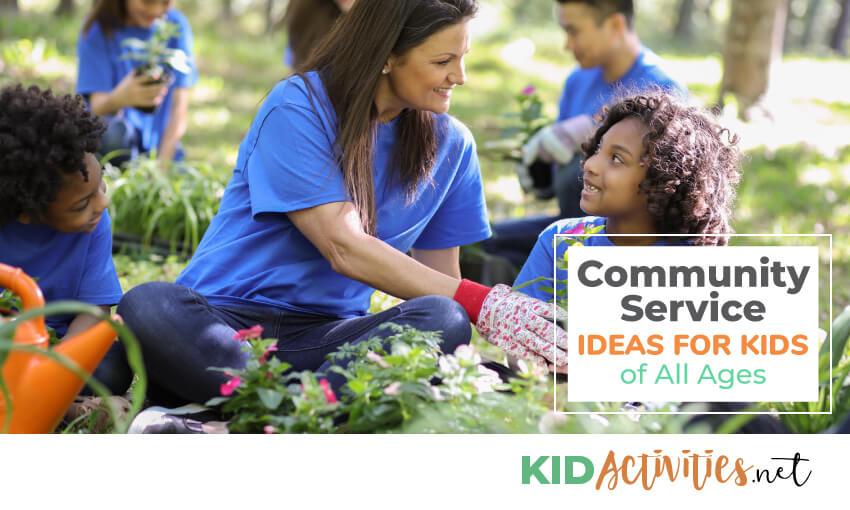 A collection of community service ideas for kids of all ages.