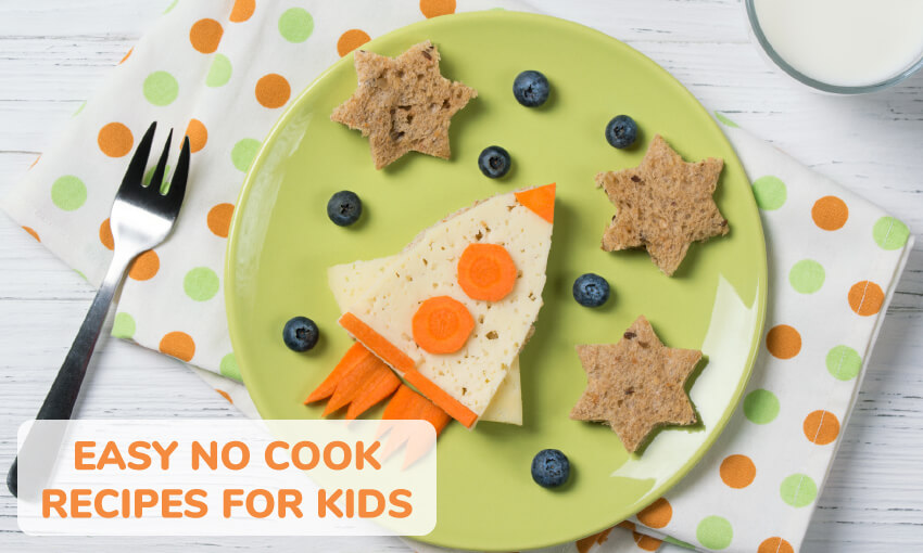 An image of a plate, fork, and dotted placemat. On the plate there is a rocket ship made of food, crackers shaped as stars, and blueberries representing the stars. Text reads easy no cook recipes for kids.