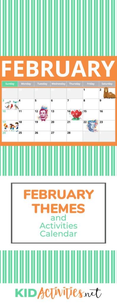 February activity calendar filled with activity ideas, games, and themes for the month of February. Great for the classroom.