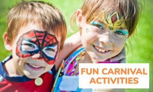 A boy and girl child with arms around each other and faces painted. Boy has a spider man face paint design and the girl has a diamond on her forehead with various colors and designs throughout her face. The text reads fun carnival activities.