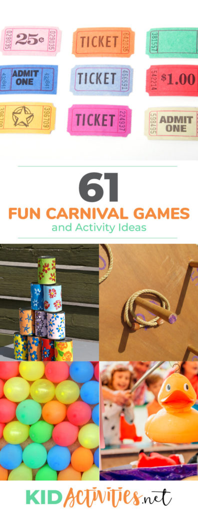 A collection of fun carnival games and activities for kids. Great for hosting a school carnival or carnival fundraiser.