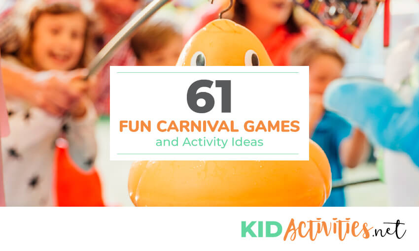 A picture of a rubber ducky with a hook sticking out of its head. Kids using a rod to try to hook it. Text reads 61 fun carnival games and activity ideas.