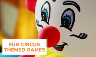 An image of a blowup clown with text that reads fun circus themed games.