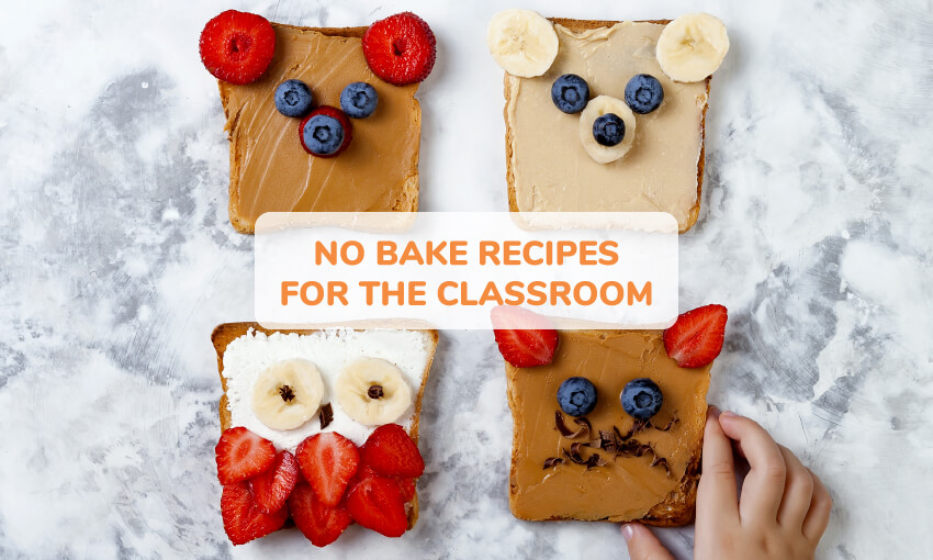 An image of 4 pieces of toast decorated with fruit and peanut butter to look like different animals, like a bear, owl, and cat. Text reads no bake recipes for the classroom.