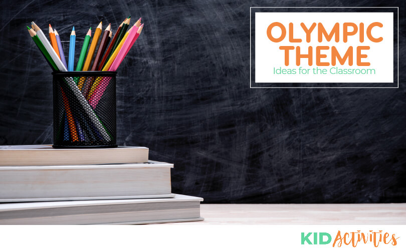 A picture of some container of pencils sitting on a stack of papers. Text reads Olympic theme ideas for the classroom.