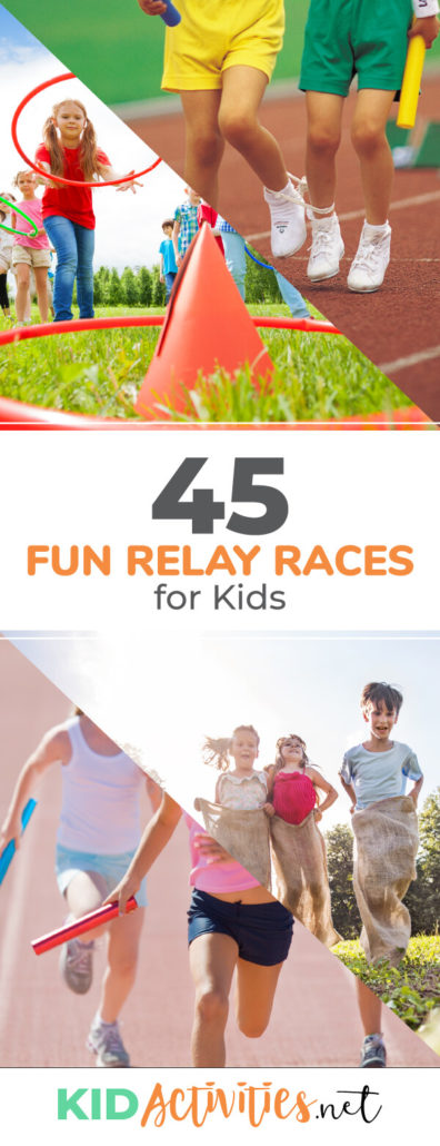 A collection of relay races for kids including: wheel barrow race, obstacle relay, three legged relay, potato sack relay, backwards race, egg race, and much much more. Great for parties and school.