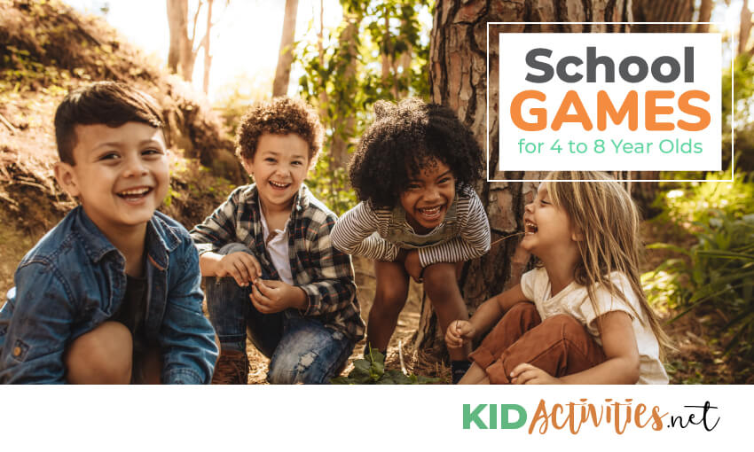 A picture of 4 kids in the woods crouching next to a tree with text that reads school games for 4 to 8 year olds.