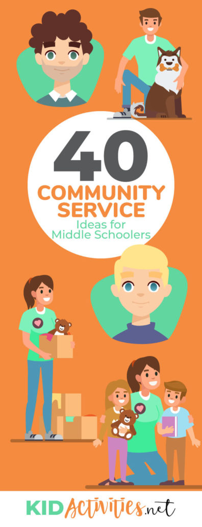 An animated picture of a young man with his arm around a dog (depicting volunteering at animal shelter), a young girl gifting a box of toys, and the same young girl with young children (perhaps volunteering to read to them). Tex reads 40 community service ideas for middle schoolers.