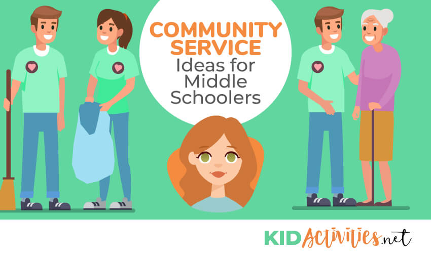 An animated picture of a middle school boy and girl picking up trash and a picture of a middle school boy helping an elderly woman. Text reads 40 community service ideas for middle schoolers.
