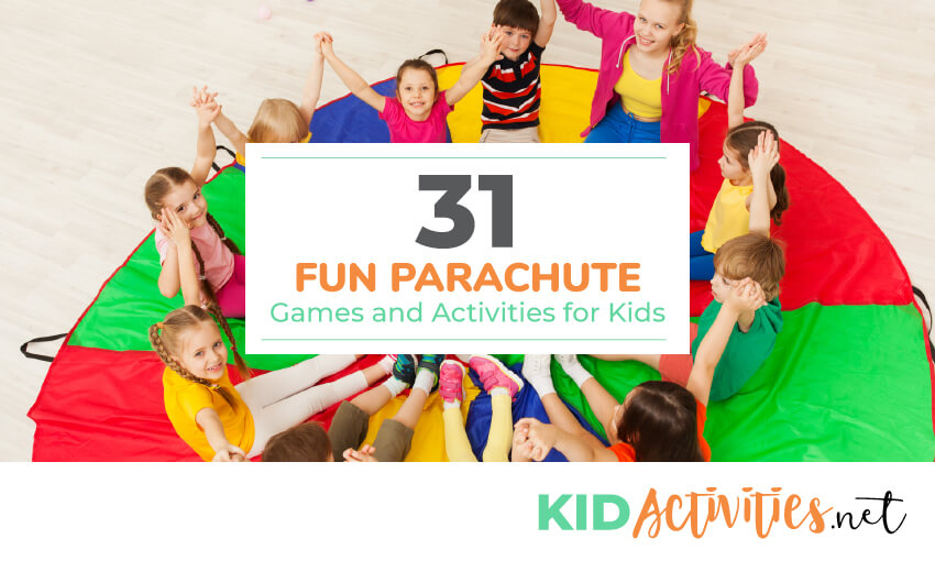 A collection of 31 fun parachute games and activities for kids. These are great for school parties or PE class.