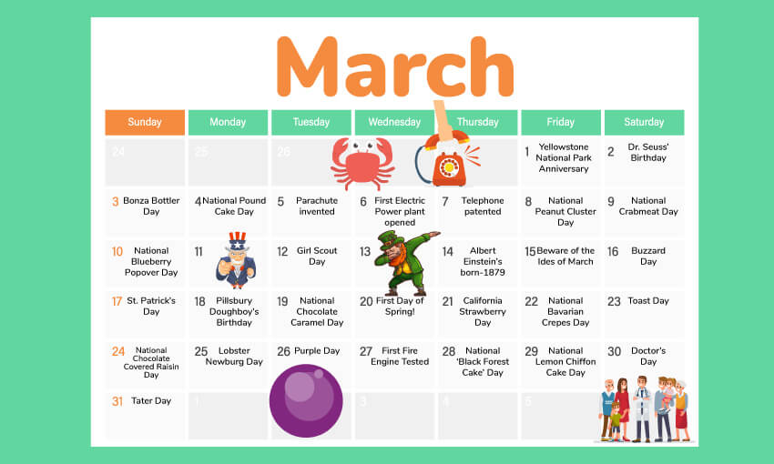 An animated picture of a March activity calendar. There's different vector images representing different theme activity ideas, like a leprechaun for St. Patrick's day.