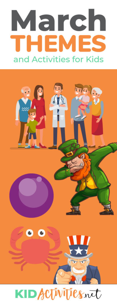 An animated picture with a leprechaun doing a dab, a purple balloon, a crab, Uncle Sam, and a gathering of people and a doctor. Text reads a collection of March themes and activities for kids.