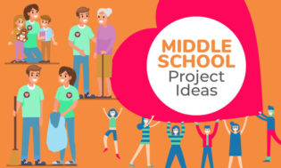 An animated picture of middle school students helping elderly, picking up trash, and working with kids. Text reads middle school project ideas.