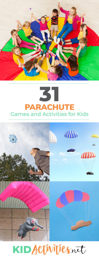 A collection of fun parachute games and activities for kids. These parachute ideas work great as a PE activity. Kids love working together to play with the parachute.