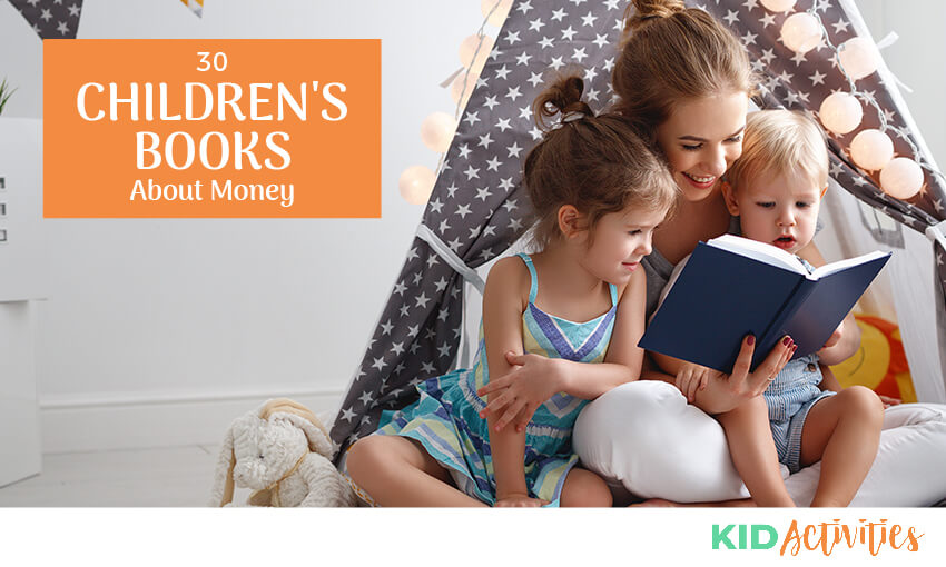 An image of a mom with two children on her lap reading a book. Text reads 30 children's books about money.