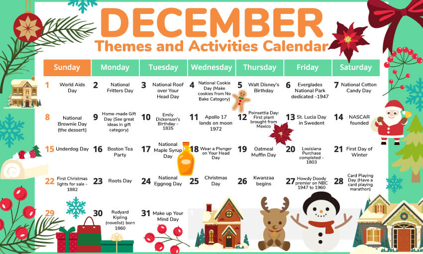 A December activity calendar for the classroom.