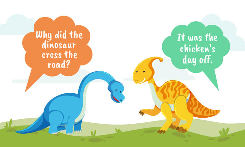 why did the dinosaur cross the road joke