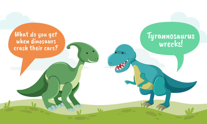 what do you get when dinosaurs crash their cars joke
