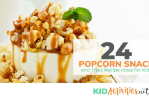 A collection of popcorn snacks and treat recipe ideas for kids. These are great treats for a kids party of school event.