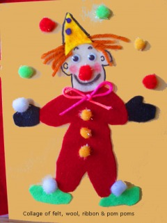 A clown craft. The clown is wearing a read outfit and is juggling different color cotton balls. It's glued to a piece of construction paper.