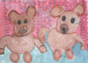 Kids art project with two teddy bears and a pink and blue background