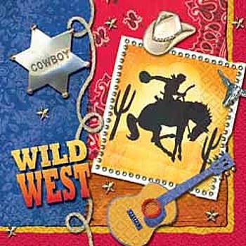 A vintage looking animated poster saying wild west with a cowboy bad, a bucking horse with a cowboy, guitar, and hat.
