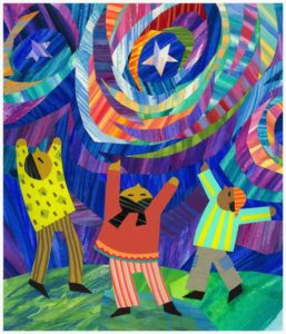 A diversity art picture. Three people with arms raised towards some decorative, colorful shapes in the sky.