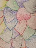 A picture of several hearts made with colored pencils.