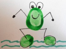 A frog drawn from the instructions in this activity.