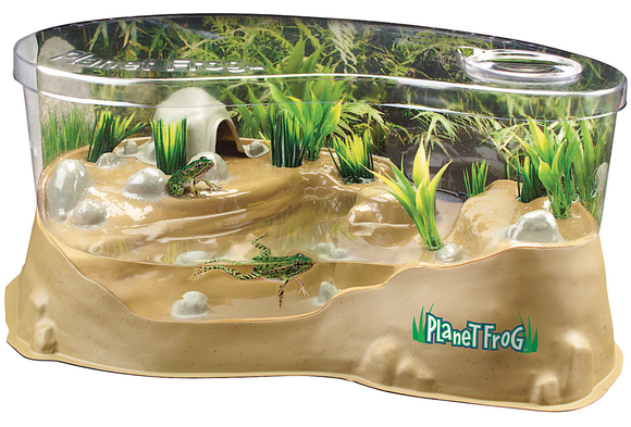 A picture of Planet Frog habitat. A kit that has water, weeds, and frogs.