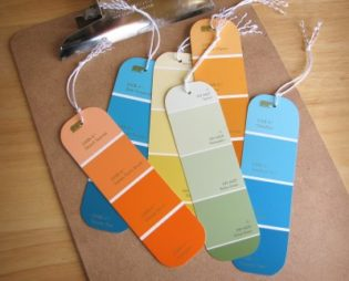 A picture of bookmarks made from color swatches.