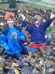 A picture of two young boys sitting in leafs throwing leaves in the air.