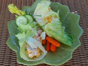 A picture of a lettuce wrap with cucumbers and carrots on a green leaf shaped plate.