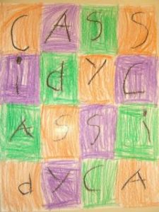 Letter quilt word art with the name Cassidy.
