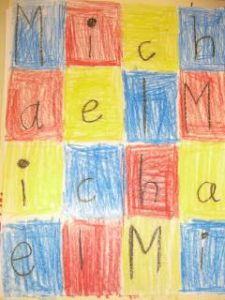 Letter art quilt using the name Michael. Each square using a letter from the name.