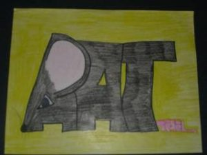Ambiguous image word art. This one says rat and it looks like a rat.  Do you see the word or the rat first?