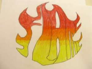 Ambiguous image word art. This one says flame and it looks like flames.  Do you see the word or the flame first?