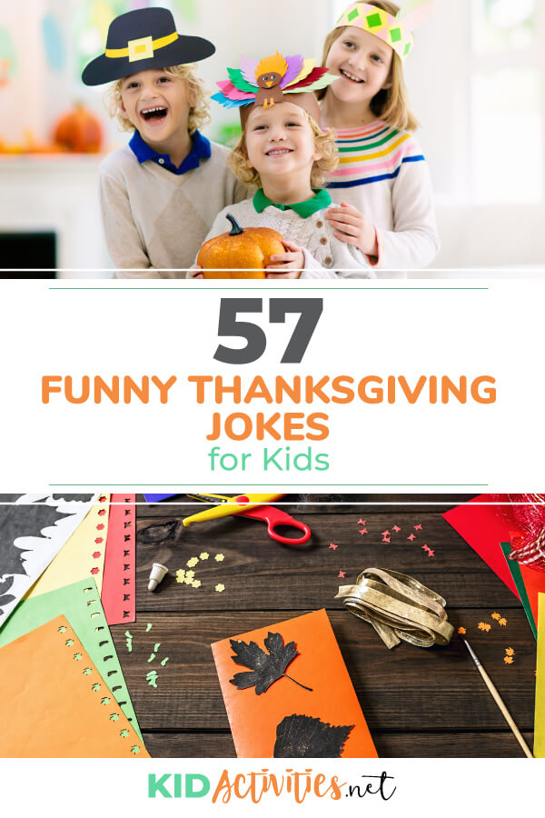 A collection of 57 funny Thanksgiving jokes for kids.