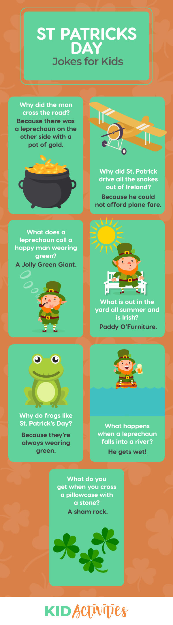 A collection of clean St. Patrick's Day jokes for kids of all ages.
