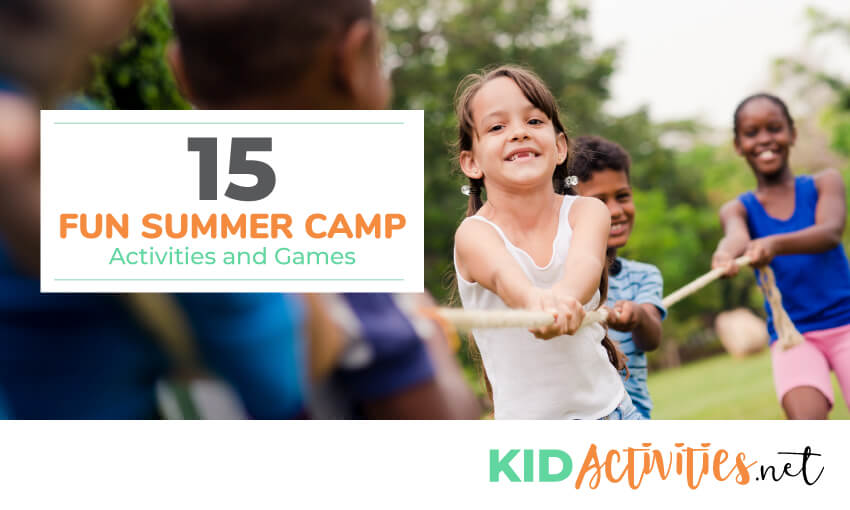 A collection of fun summer camp activities and games for kids.