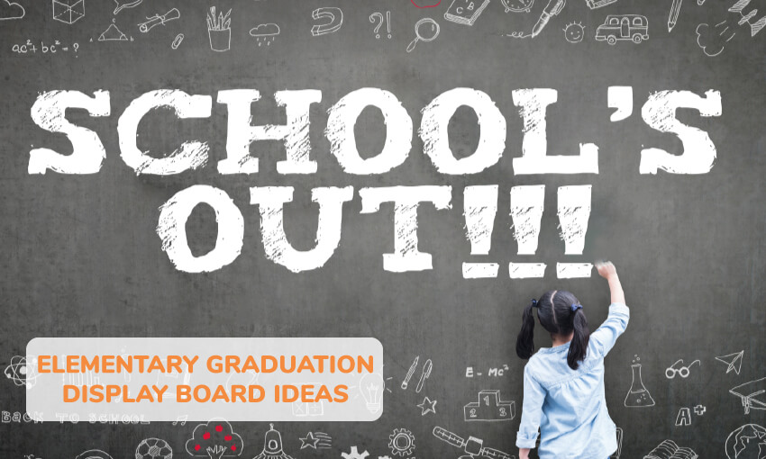 A collection of elementary graduation display board ideas.
