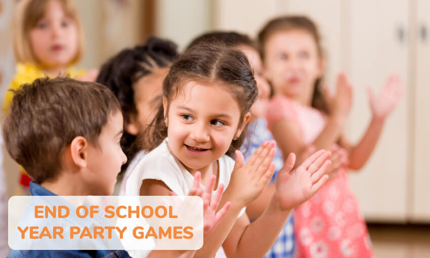 A collection of end of school year party games for kids.